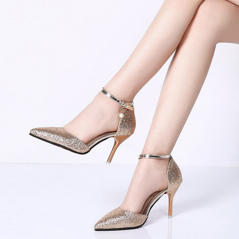 high heels ankle strap wedding party