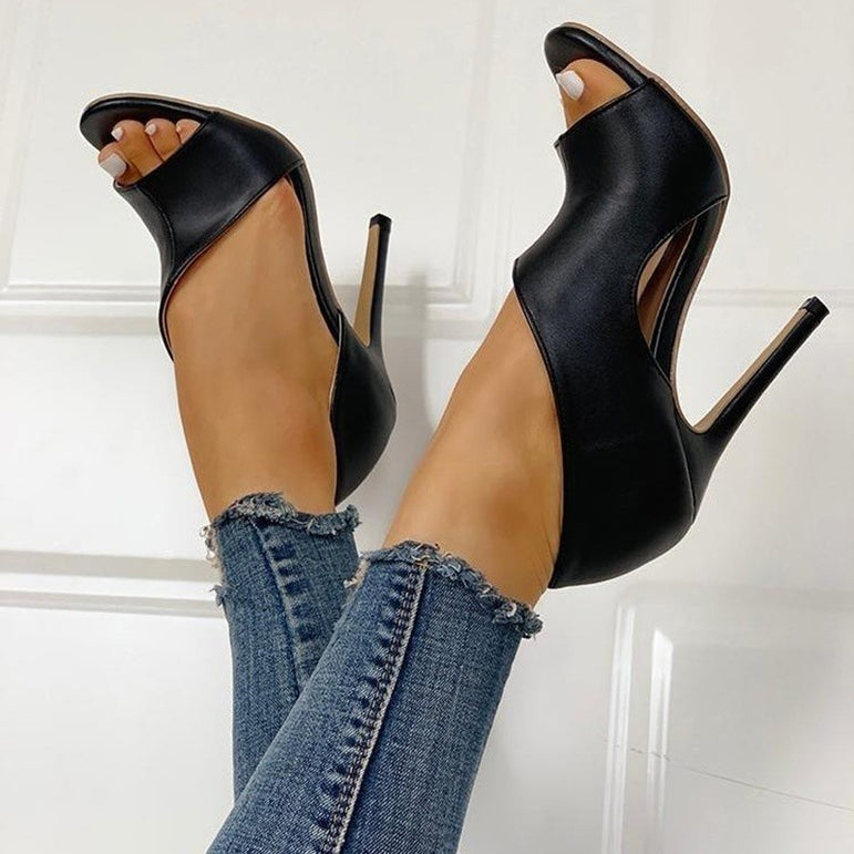 Leather Fish Head High Heel