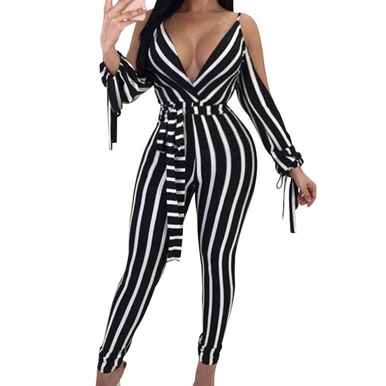 Elegant Long Sleeve Backless Jumpsuit