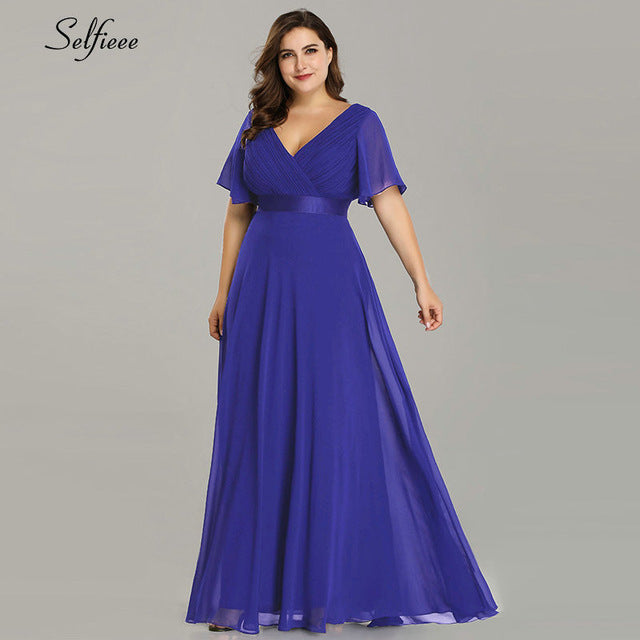 Plus Size V Neck Chiffon Party Dress
