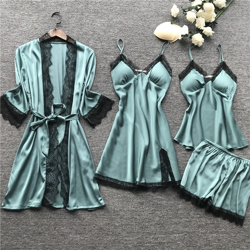 Sleepwear Silk 4 Pieces Nightwear For Women