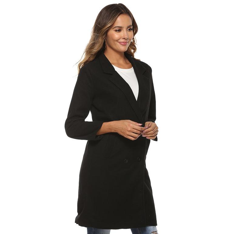 Long Jacket Wool Coat Casual Style