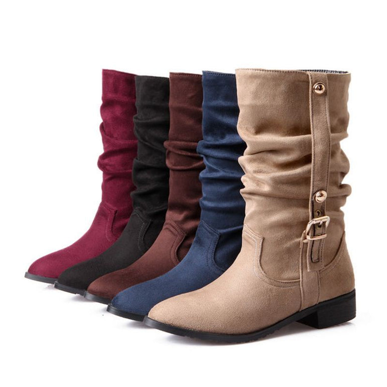 Women Half Snow Boots Leather