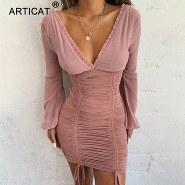 Chiffon Sexy Women Dress Long Sleeve Slim