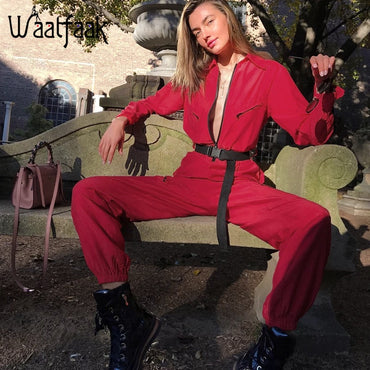 Long Pants Long Sleeve Cargo Jumpsuit