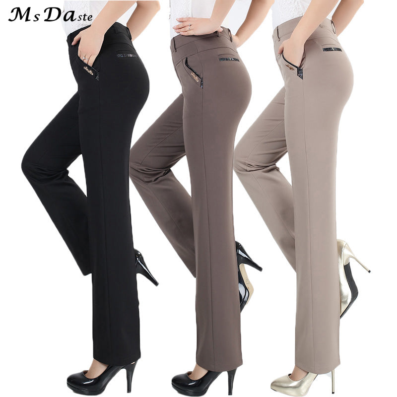 straight pants high waist casual female