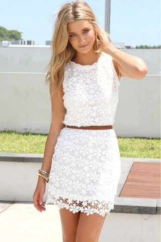 Lace Floral Crochet Slim Dress