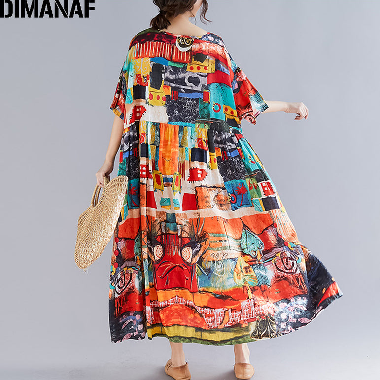 Summer Sundress Cotton Plus Size Dress