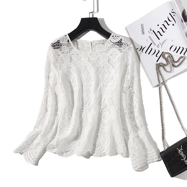 White Hollow Out Blouse street wear