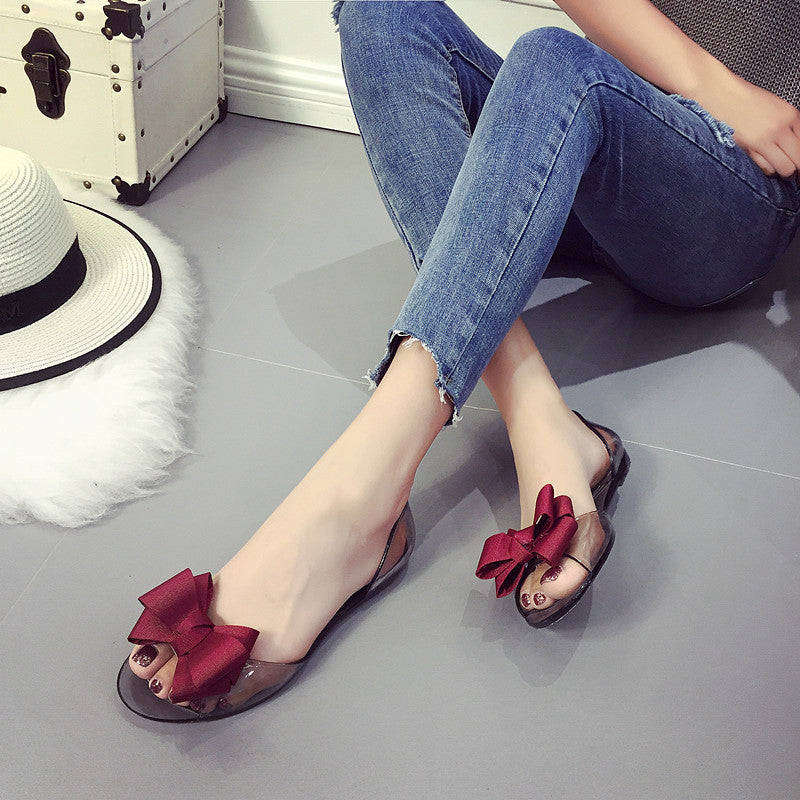 Crystal Open Toe Flat Heel