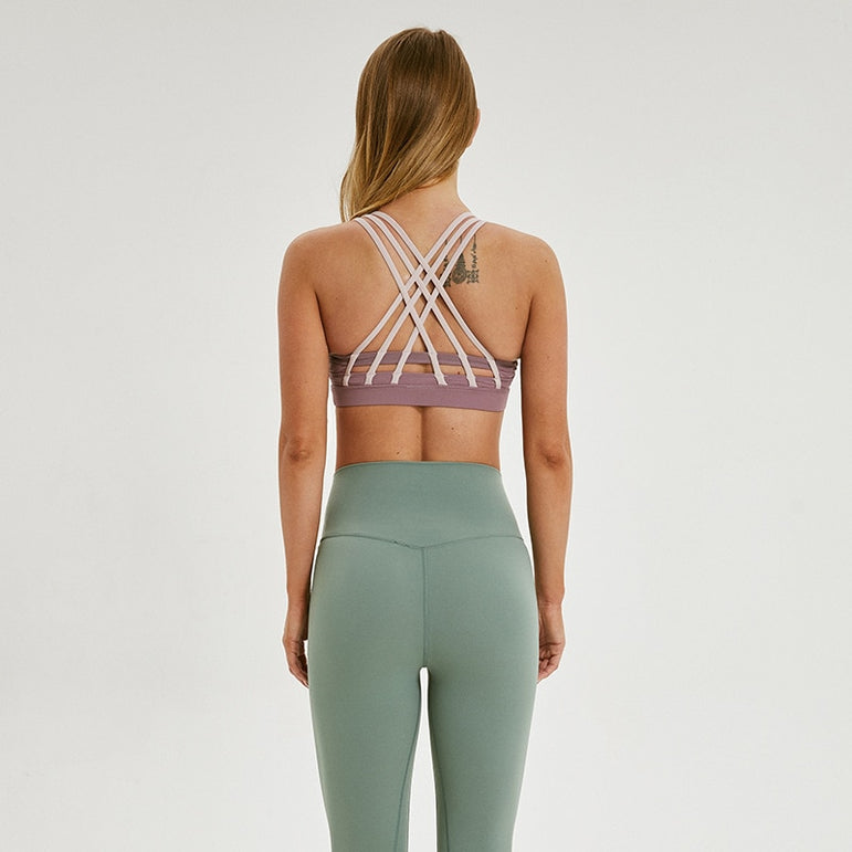 Yoga Bra with Removable Pads Running Crossback