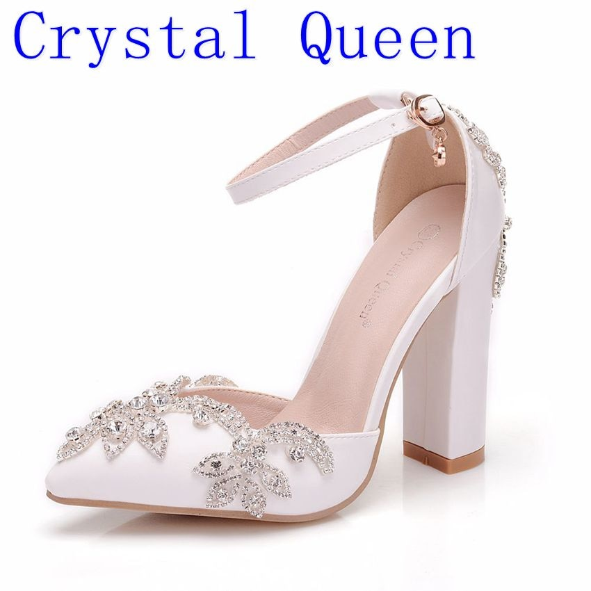 Crystal High Heels Sandals White 11CM