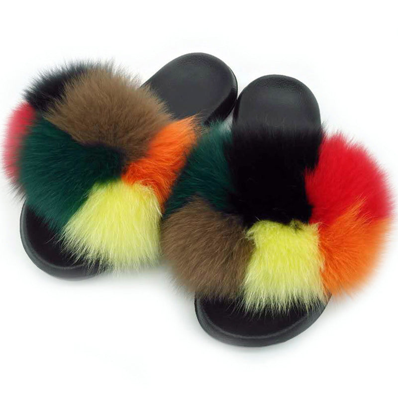 Real Fox Fur Fluffy Slipper