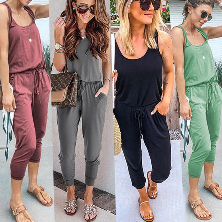 Sexy Sleeveless jumpsuit long romper