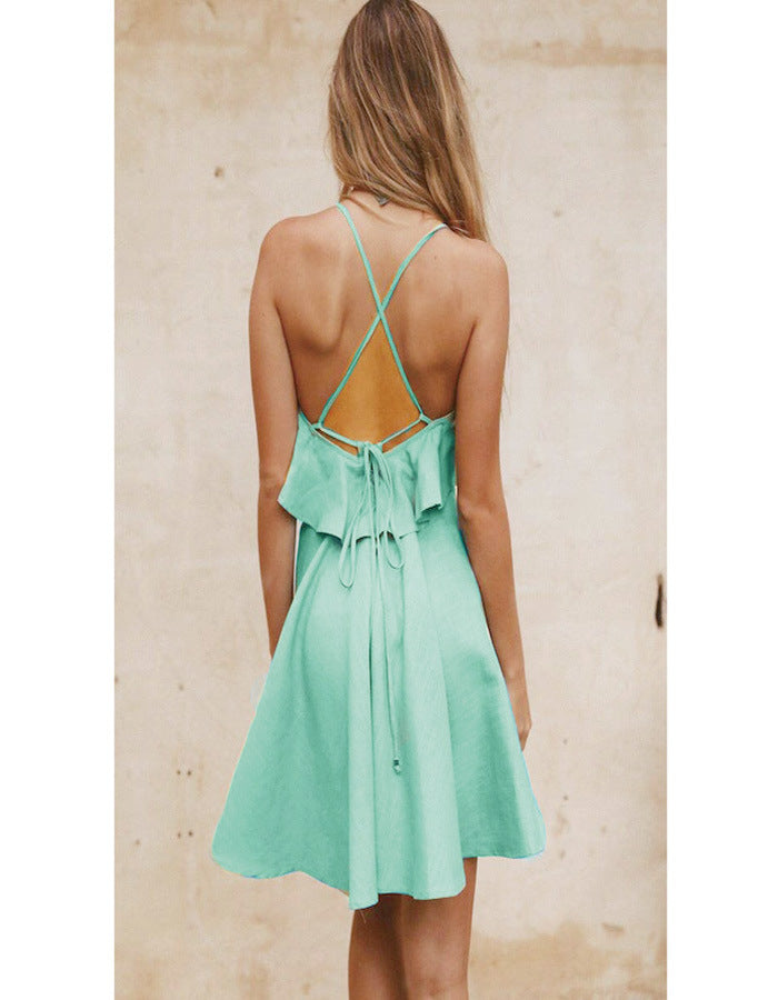 Backless Cross Drawstring Strap Mini Dress