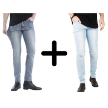 Afbeelding in Gallery-weergave laden, 2 x De Perfecte Jeans: Grey Denim + Light Blue