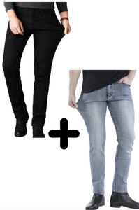 2 x De Perfecte Jeans: Grey Denim + Black