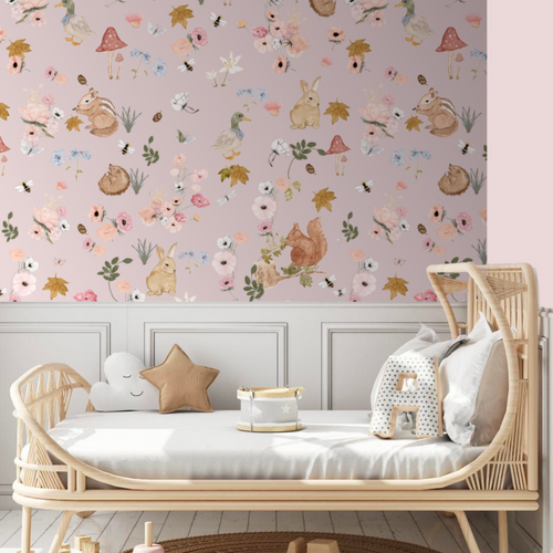 Hazel and Flora Pink Petal | Removable PhotoTex Wallpaper