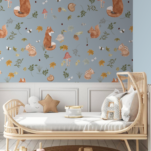 Mr Fox and Co Storm Blue | Removable PhotoTex Wallpaper