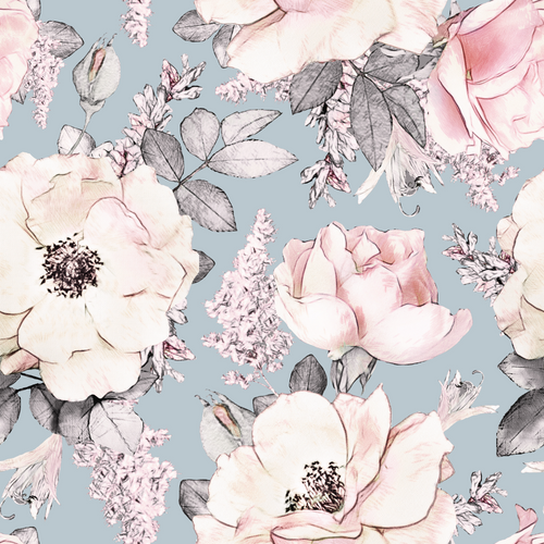 Peony Garden Duck Egg | Removable PhotoTex Wallpaper