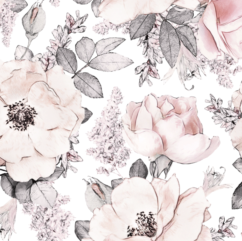 Peony Garden White | Removable PhotoTex Wallpaper