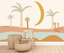 Load image into Gallery viewer, Hello Minty Moon Mural | Removable PhotoTex Wallpaper