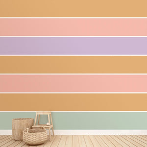 Little Peach Candy Stripes | Removable PhotoTex Wallpaper