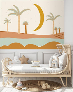 Hello Minty Moon Mural | Removable PhotoTex Wallpaper
