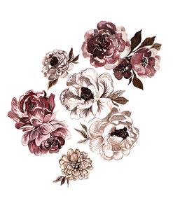 Bella Peony Decals | Removable PhotoTex Wall Decals