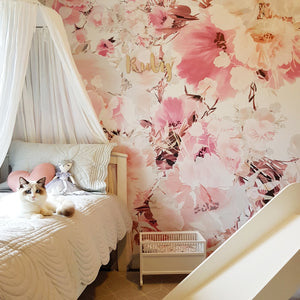 Vintage Floral White | Removable PhotoTex Wallpaper