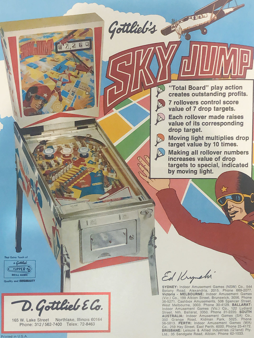 Gottlieb's Sky Jump Flyer Signed