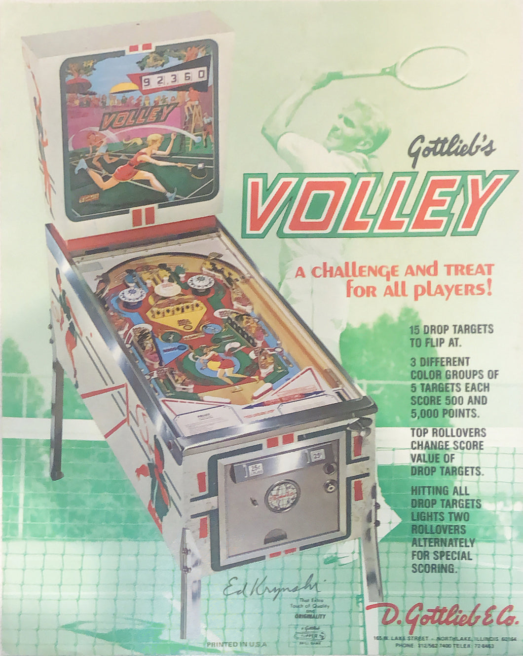 Gottlieb's Volley Pinball Flyer Signed