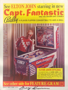Captain Fantastic Pinball Flyer Signed