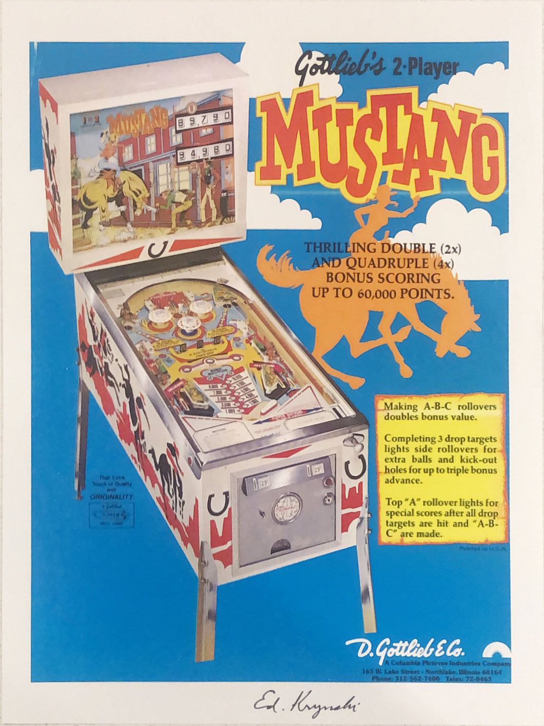 Gottlieb's Mustang Pinball Flyer Signed