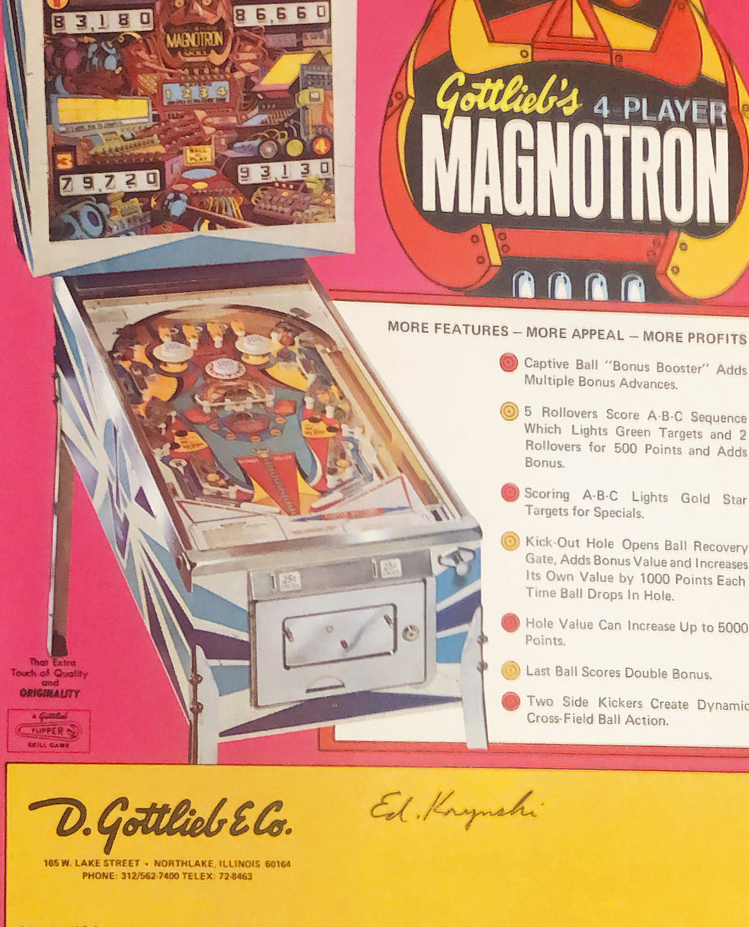 Gottlieb's Magnotron Pinball Flyer Signed