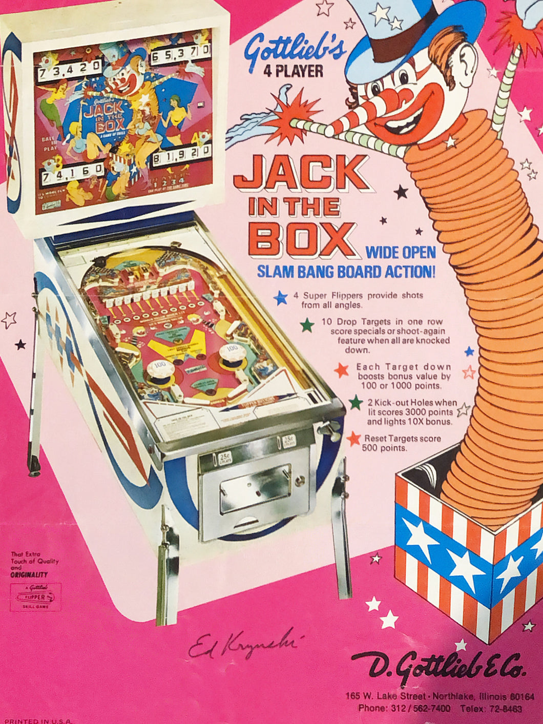 Gottlieb's Jack In The Box Pinball Flyer