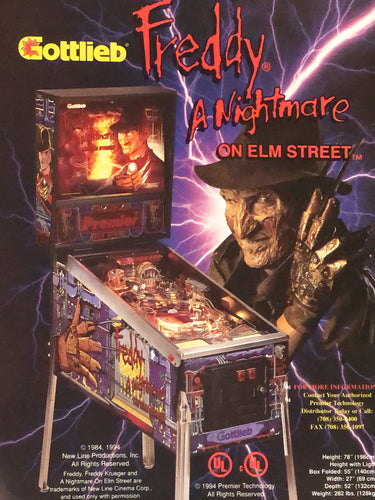Gottlieb's Freddy A Nightmare On Elm Street Signed