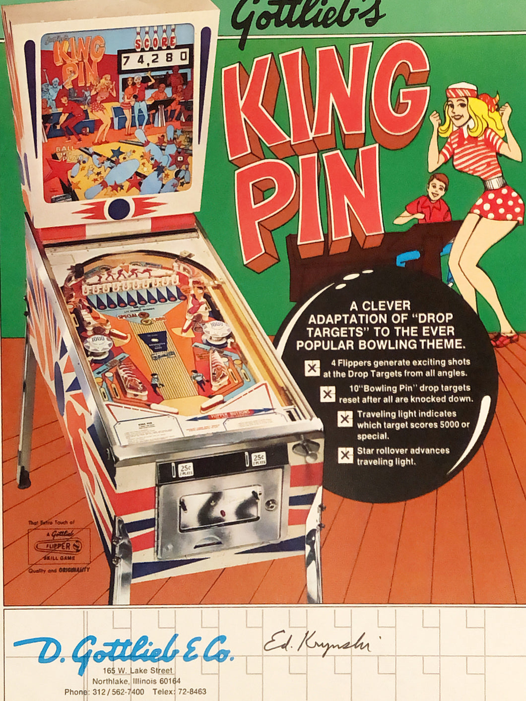 Gottlieb's King Pin Signed