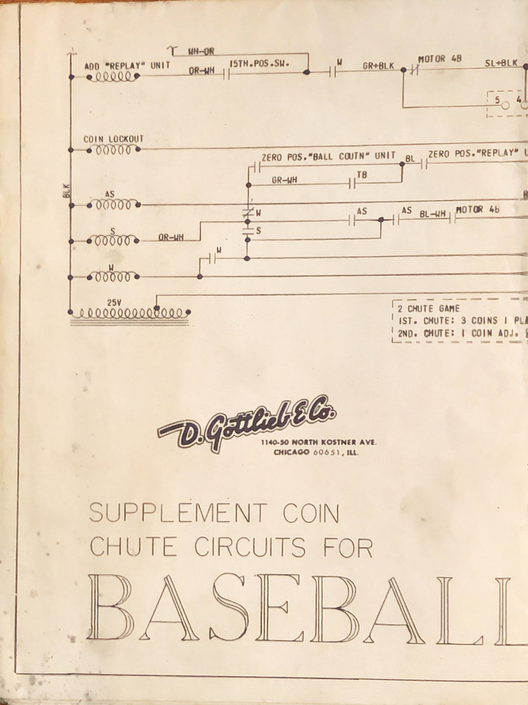 Baseball Pinball Schematics Only