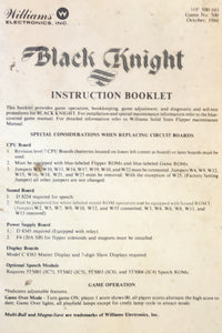 Black Knight Pinball Instruction Manual Only