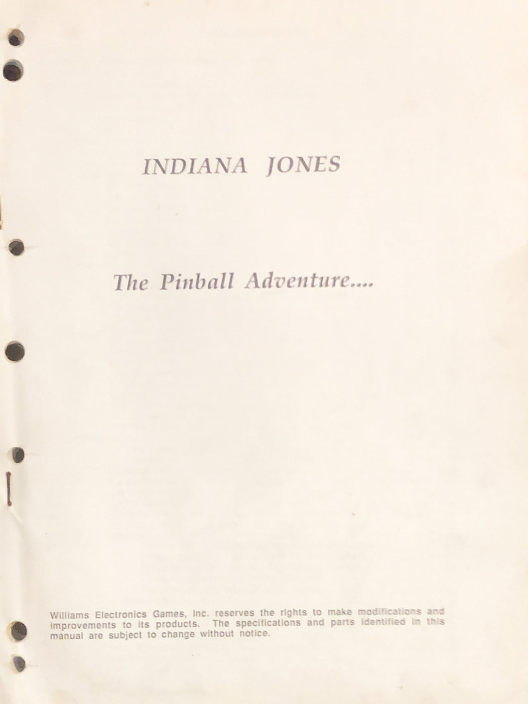 Indiana Jones Pinball Book (Missing Cover)