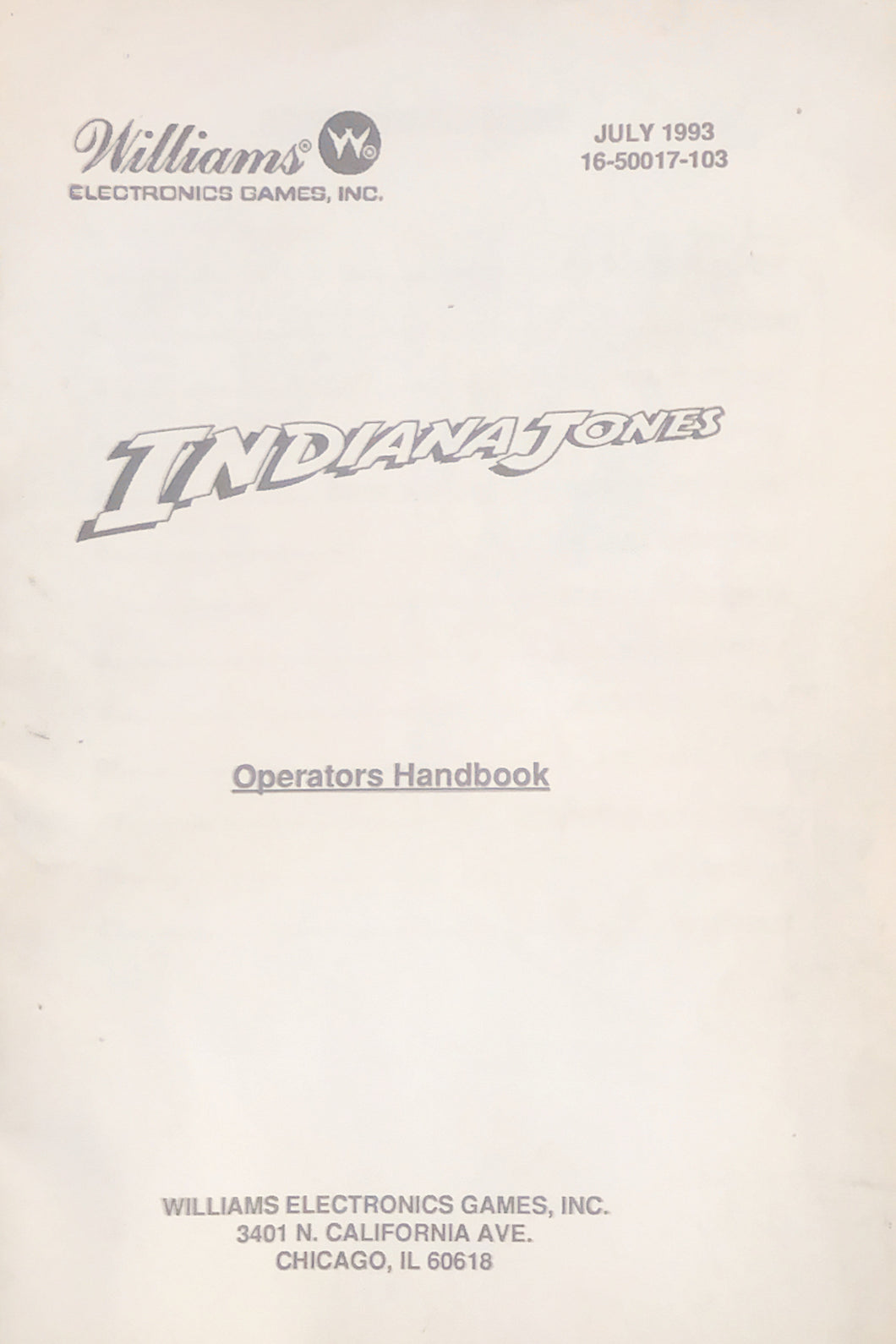 Indiana Jones Operations Pinball Handbook