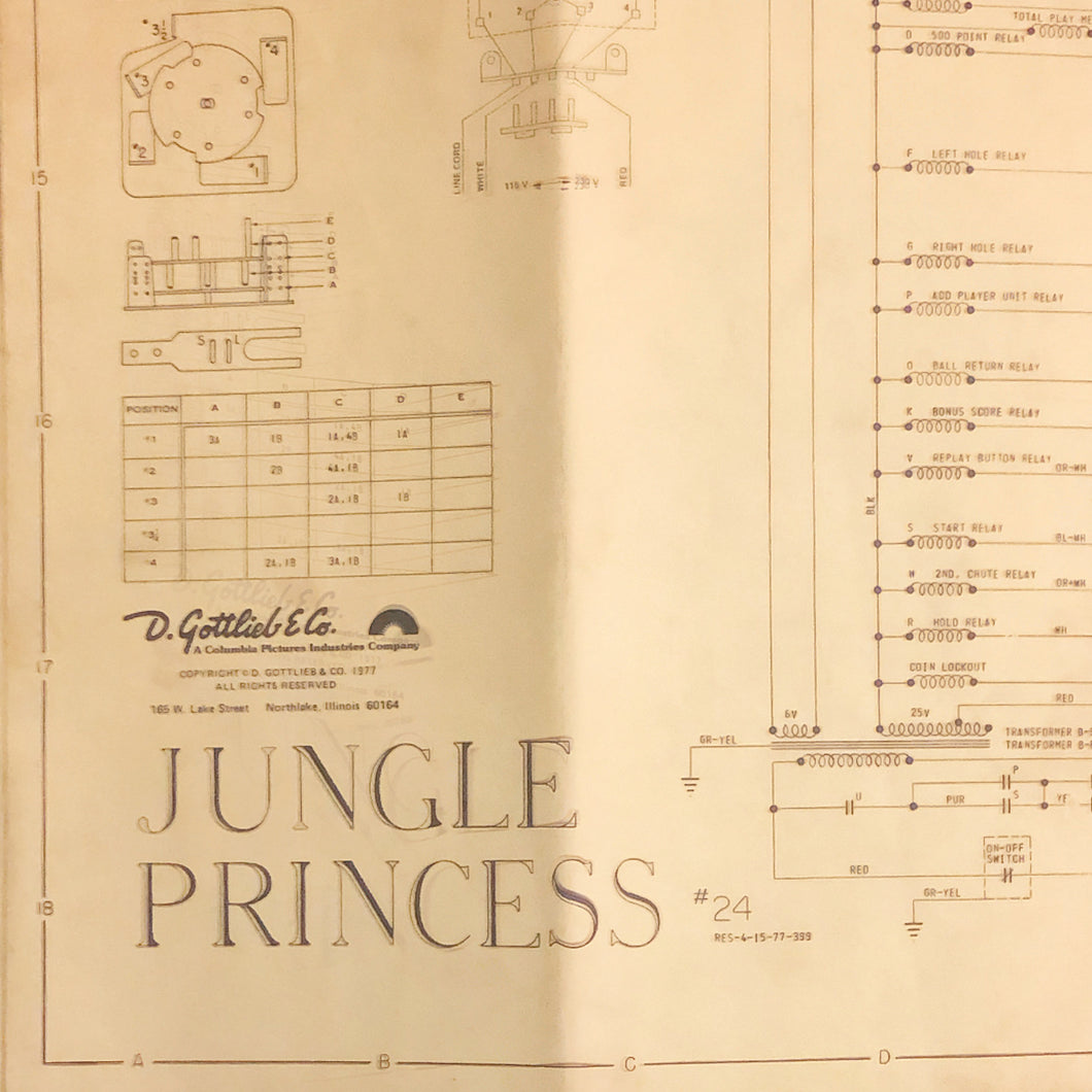 Jungle Princess Pinball Schematic