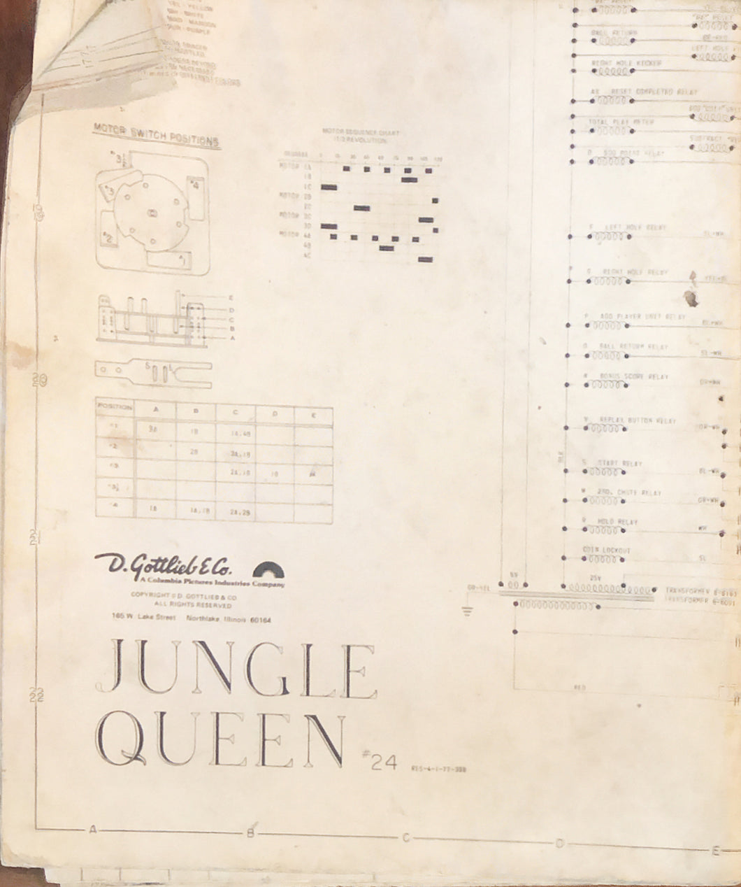 Jungle Queen Pinball  Schematic Only