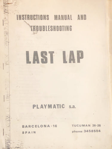 Last Lap Pinball Manual Only