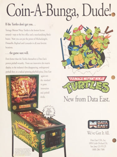 Ninja Turtles Pinball Flyer