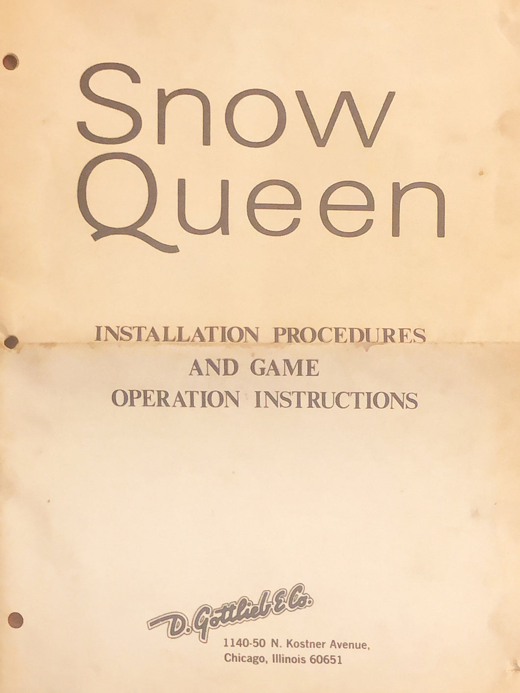 Snow Queen Complete Pinball Manual