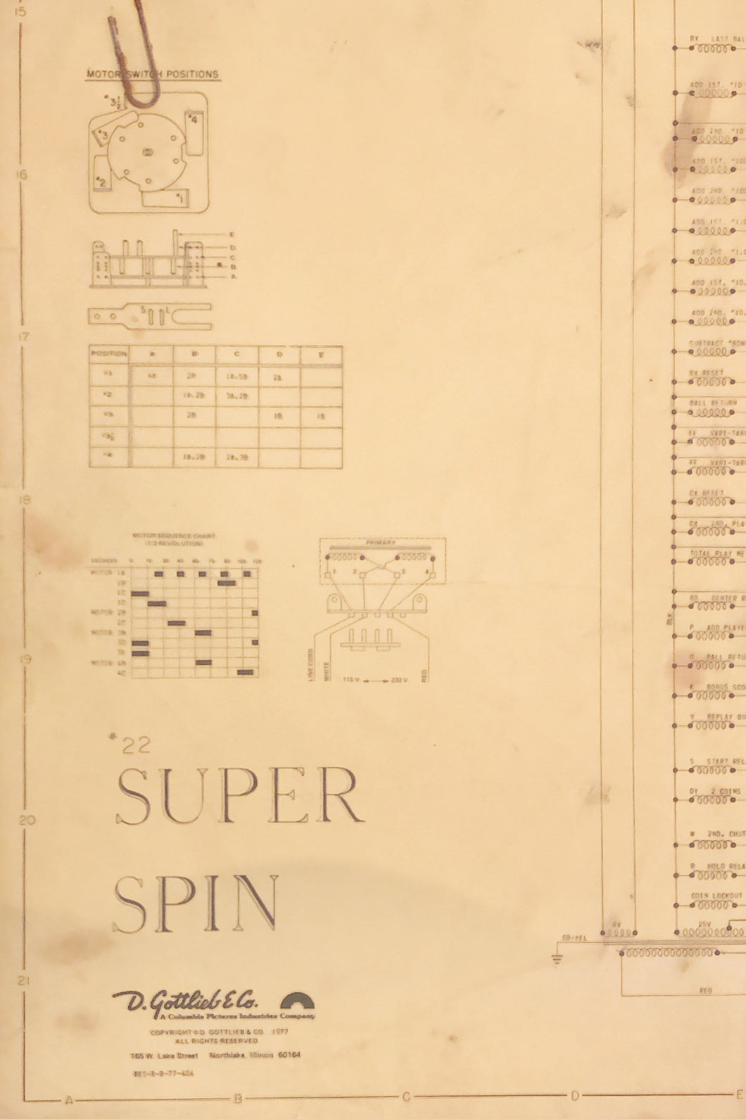 Super Spin Pinball Schematic's
