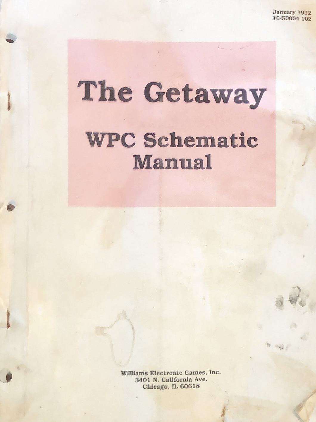 The Getaway Pinball Schematic Manual