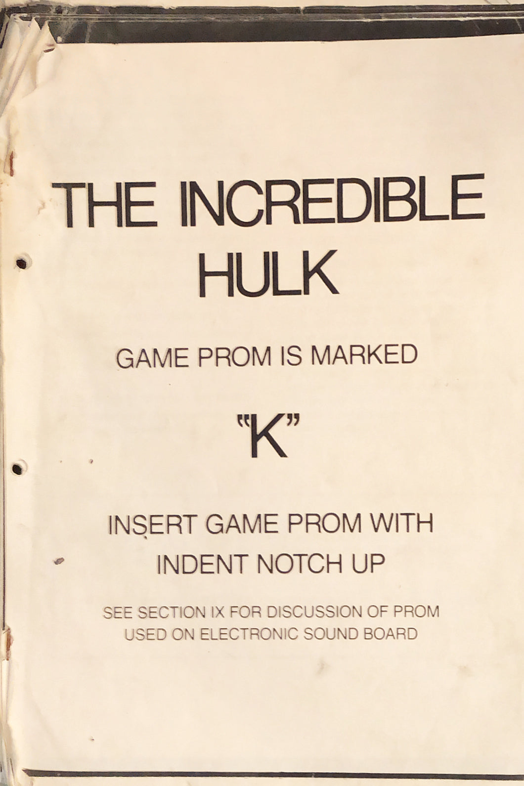 The Incredible Hulk Pinball Manual Only